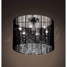 alondra 6 light black crystal shade chrome ceiling mount chandelier 9h x 18w xtkl369bcl155x black crystal chandelier lighting
