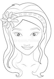 Small Picture Girls Face Coloring Page Stock Illustration Image 51089031