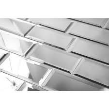 subway 3 x 6 silver gray beveled glossy glass mirror l stick decorative bathroom wall tile backsplash 8 pack