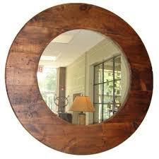 Large round barn wood mirror For Sale
