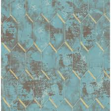 Blue And Gold Design Whitney Geometric Wallpaper In Azure Blue Metallic Gold Brown