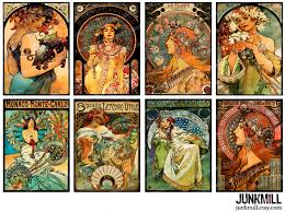 mucha masterpieces digital printable collage sheet 2 5 x 3 5 alphonse mucha art nouveau paintings atc images digital