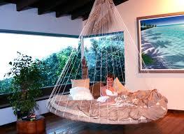 Circle floating indoor hammock bed design ideas