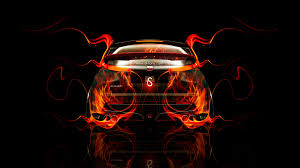 honda civic type r back fire abstract car