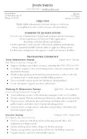 Examples Of Administrative Resumes Simple Resumes Samples For Administrative Assistant Senior Administrative
