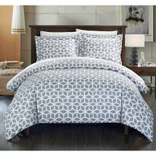 chic home 2 piece lovey geometric diamond printed reversible duvet cover set grey twin com