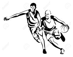 2 つのバスケット ボール選手のシルエットベクター クリップ アート