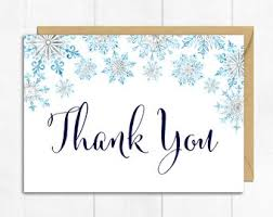 snowflake thank you cards snowflake thank you etsy