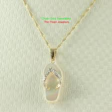 details about 14k yellow gold diamond flip flop slipper white mother of pearl pendant tpj