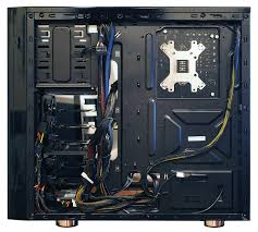 a behind the motherboard glimpse at a cleanly cabled system