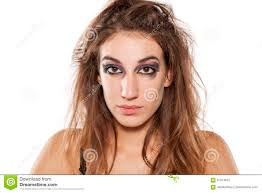woman with ugly makeup