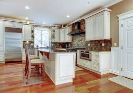Delighful Kitchen Design White Cabinets Wood Floor With And Cherry Flooring Intended Beautiful Ideas