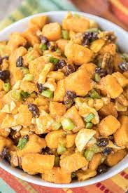 Fold in chickpeas, red onion, raisins, and most of mint until well combined. Sweet Potato Salad Plain Chicken