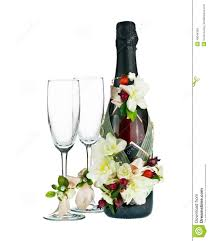 Champagne Bottle Decoration Champagne Bottle And Glass With Wedding Decoration Of Flower Arr
