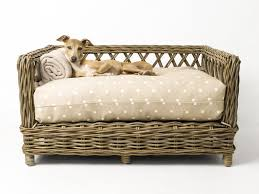 wicker dog bed. Modren Bed Charley Chau Raised Rattan Dog Bed Dressed With Day Bed Mattress In Dotty  Taupe And Wicker O