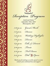 Program Of Events Sample Wedding Reception Program Sample Weddings Events Puram Family