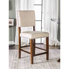 furniture of america banea linen nailhead brown cherry counter height chair set of 2