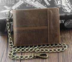 new vintage brown leather wallet with chain mens bifold many card holder