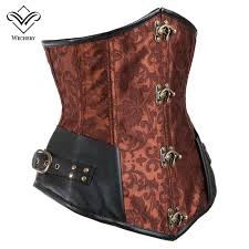 2019 wechery steampunk corset y gothic leather corsets lace up buckle retro y vintage korset corsage steel bone waist trainer from cute08