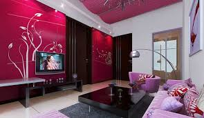 interior decoration. Interior Decoration Red TV Wall And Pink Sofa