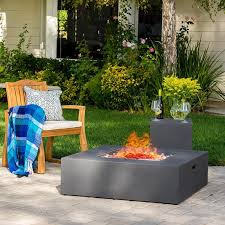 akoya outdoor essentials 4 piece 42 x 42 square modern concrete fire pit table in gray w outdoor patio furniture set by caribbean blue