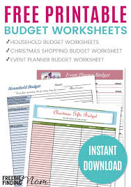 Free Printable Budget Worksheets For Household Template
