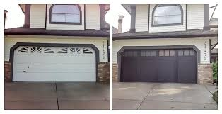 homeowner came to us wanting to install a modern garage door the consultation resulted in choosing the clean lined design of this coachman door by clopay
