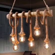 vintage industrial 6 bulb hemp rope bamboo chandelier pendant ceiling light uk