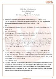 important questions for cbse class 10 maths chapter 3 pair of linear equations in two variables