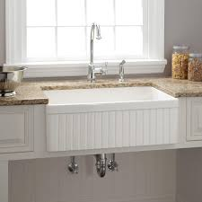 White Apron Kitchen Sink 30 Baldwin Fireclay Farmhouse Sink Fluted Apron White