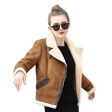 2019 whole brown shearling sheepskin coats women 2017 autumn winter womens coffeelambs wool short biker faux leather suede jackets js3010 from peay