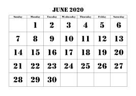 Free 2020 June Printable Calendar Templates Pdf Excel