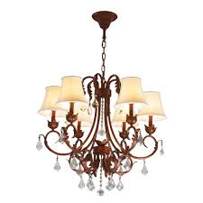 barcelona collection 6 light antique bronze finish with natural shades crystal chandelier 28 d