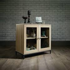 details about rustic storage cabinet glass doors wood sideboard display server industrial base