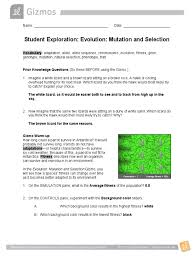 Check spelling or type a new query. Student Exploration Evolution Mutation And Selection Gizmo Answers Fitness Biology Allele