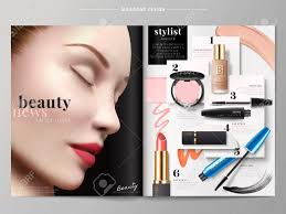 beauty fashion magazine makeup s with smear textures in 3d ilration beautiful model with