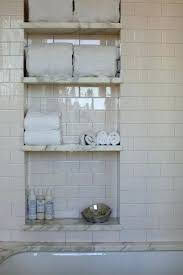 bathroom in wall shelves subway tile and bathroom built in wall nook storage small be a