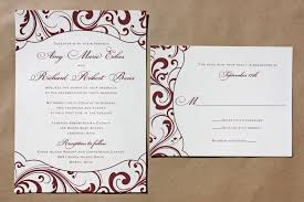 burgundy swirl pattern with fun shaped frame wedding invitations