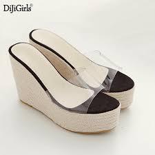 summer <b>clear flip flops</b> fashion Linen weaving wedges women ...