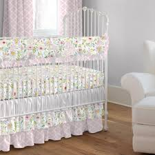 pink and gray primrose crib bedding
