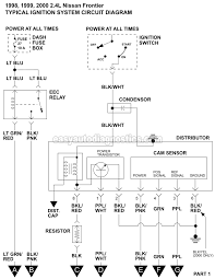 ignition system wiring diagram (1998 2000 2 4l nissan frontier) 2000 nissan frontier tail light wiring diagram at 2000 Nissan Frontier Wiring Diagram