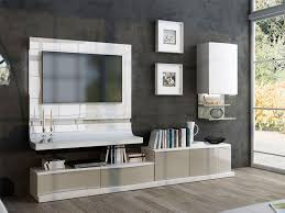 contemporary fenicia wall storage system with tv unit curved tv panel and wall cabinet thumbnail