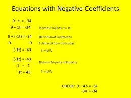 6 equations with negative coefficients
