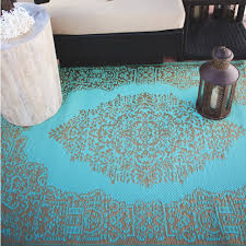 istanbul fair aqua and bronze outdoor mat