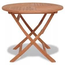 vidaxl round garden teak wood wooden folding picnic drinks dining table patio