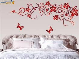 wall art stickers red flowers