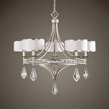 uttermost tamworth 5 light silver champagne chandelier alt1