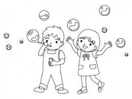 シャボン玉で遊ぶ子どものぬりえ線画イラスト素材 イラスト無料