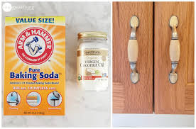 to clean grimy kitchen cabinets with