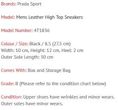 Prada Sport Mens Leather High Top Sneakers 4t1836 Black Gr B
